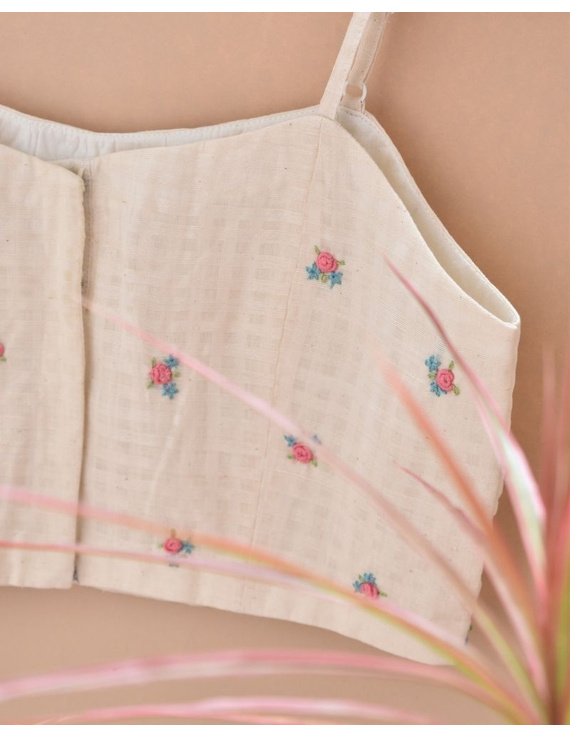 Off-white Strap Blouse with Pastel Rosette Embroidery-RB13A-S-3