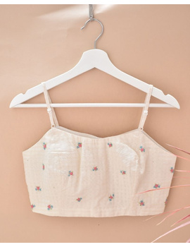 Off-white Strap Blouse with Pastel Rosette Embroidery-RB13A-RB13A-S-sm