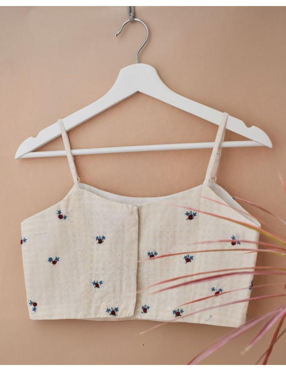 Off-white Strap Blouse with Maroon Rosette Embroidery-RB13B-M-1