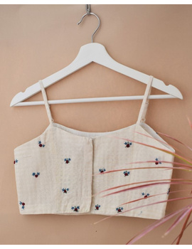 Off-white Strap Blouse with Maroon Rosette Embroidery-RB13B-XL-1-sm