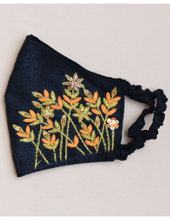 Pure silk mask with zardosi hand embroidery: ZM1-Black-1