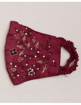 Pure silk mask with zardosi hand embroidery: ZM3-Maroon-3-sm