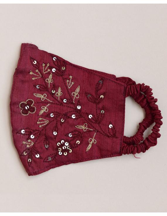 Pure silk mask with zardosi hand embroidery: ZM3-Maroon-3