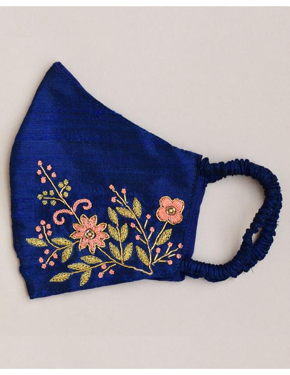 Pure silk mask with zardosi hand embroidery: ZM2-Blue-1