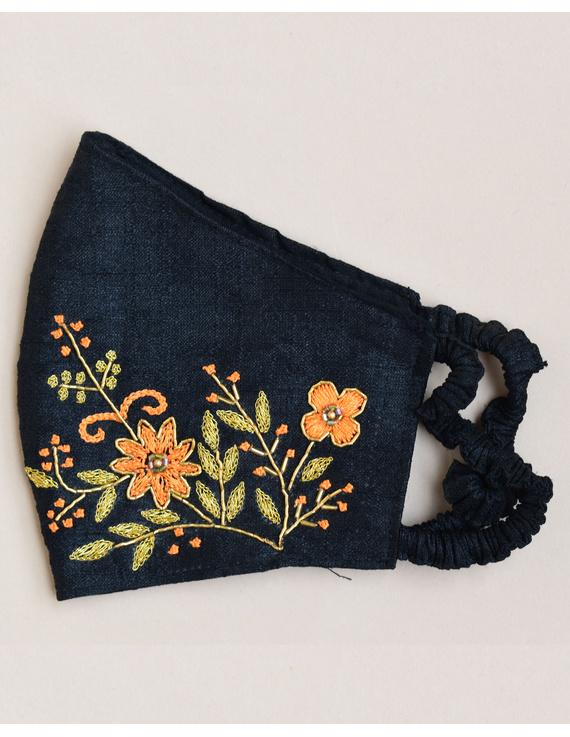 Pure silk mask with zardosi hand embroidery: ZM2-Black-1