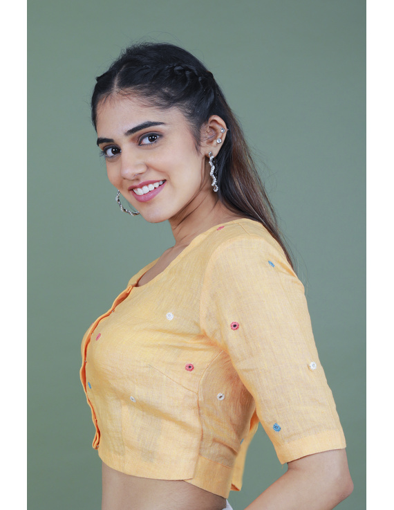 Peach linen blouse with mirror embroidery-RB09A-RB09A