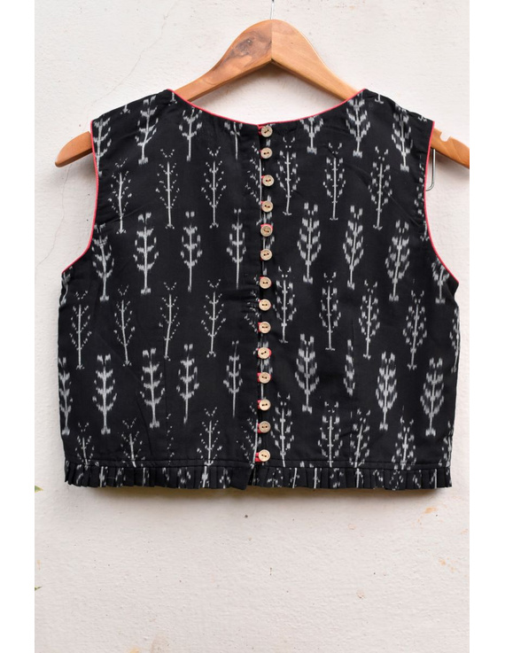 Black ikat blouse with buttons at backRB11B-L-1
