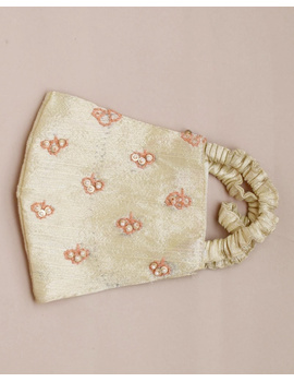 Semi silk mask with zardosi hand embroidery: ZM5-off white-1-sm