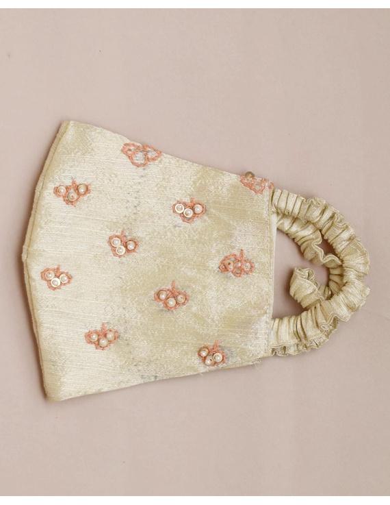 Semi silk mask with zardosi hand embroidery: ZM5-off white-1