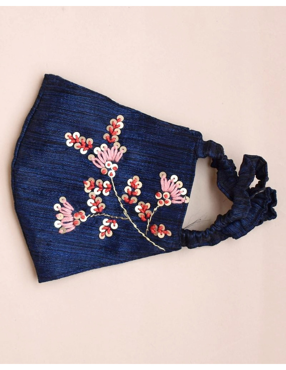 Semi silk mask with zardosi hand embroidery: ZM4-Blue-1