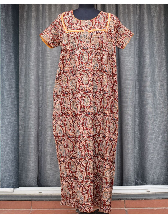 Red Handcrafted Nighties In Soft Kalamkari Cotton : NW110A-NW110A-SorM
