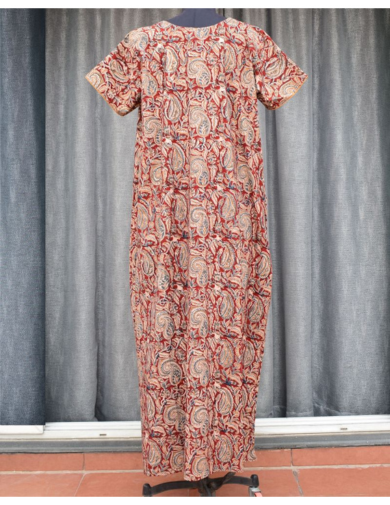 Red Handcrafted Nighties In Soft Kalamkari Cotton : NW110A-S/M-1