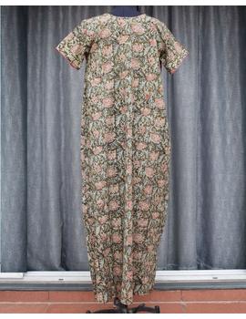 Green Handcrafted Nighties In Soft Kalamkari Cotton : NW110B-L/XL-1-sm