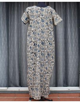 Blue & White Handcrafted Nighties In Soft Kalamkari Cotton : NW110C-S/M-1-sm