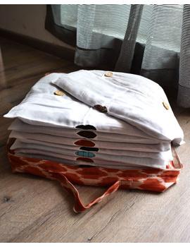 Saree storage bag in ikat cotton with set of ten saree sleeves : MSK01D-1-sm