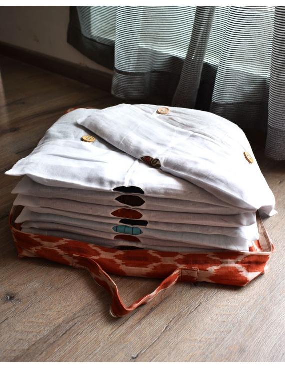 Saree storage bag in ikat cotton with set of ten saree sleeves : MSK01D-1