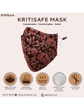 """""""Kritisafe"""" kalamkari cotton mask with filter and noseclip: KFM01-KFM01A-sm"""