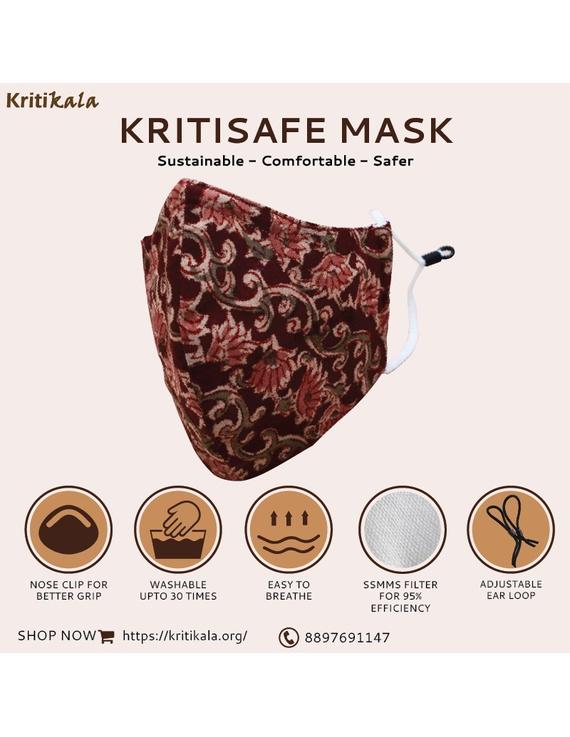 """""""Kritisafe"""" kalamkari cotton mask with filter and noseclip: KFM01-KFM01A"""