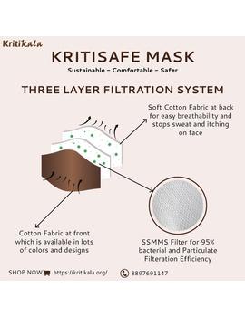 """""""Kritisafe"""" kalamkari cotton mask with filter and noseclip: KFM01-Brown-1-sm"""