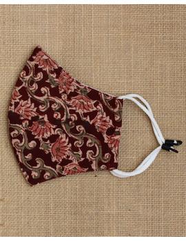 """""""Kritisafe"""" kalamkari cotton mask with filter and noseclip: KFM01-Brown-2-sm"""