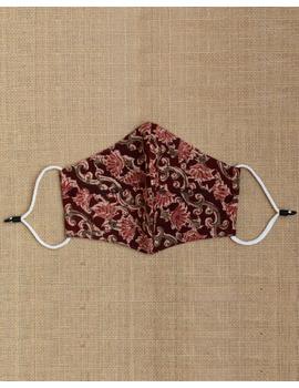 """""""Kritisafe"""" kalamkari cotton mask with filter and noseclip: KFM01-Brown-3-sm"""