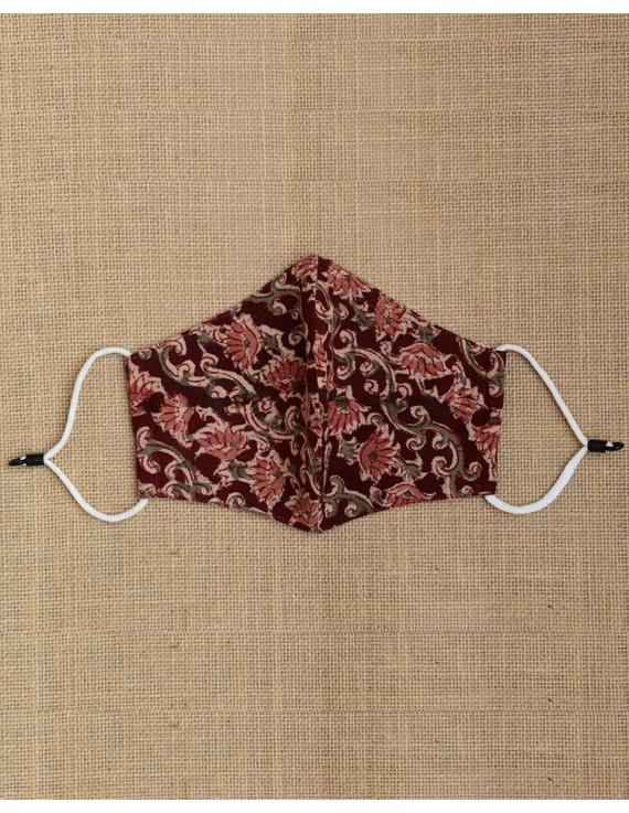"""""""Kritisafe"""" kalamkari cotton mask with filter and noseclip: KFM01-Brown-3"""