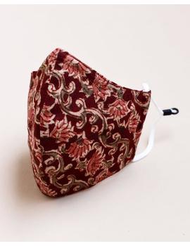 """""""Kritisafe"""" kalamkari cotton mask with filter and noseclip: KFM01-Brown-4-sm"""