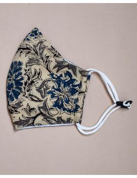 """""""Kritisafe"""" kalamkari cotton mask with filter and noseclip: KFM01-Blue-1-sm"""