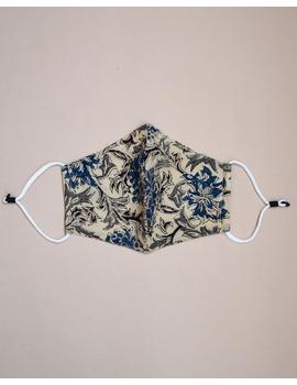 """""""Kritisafe"""" kalamkari cotton mask with filter and noseclip: KFM01-Blue-2-sm"""