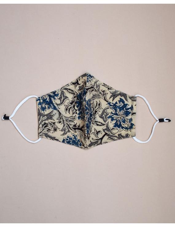 """""""Kritisafe"""" kalamkari cotton mask with filter and noseclip: KFM01-Blue-2"""