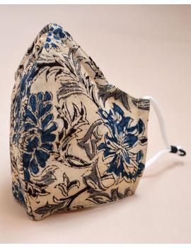 """""""Kritisafe"""" kalamkari cotton mask with filter and noseclip: KFM01-Blue-3-sm"""