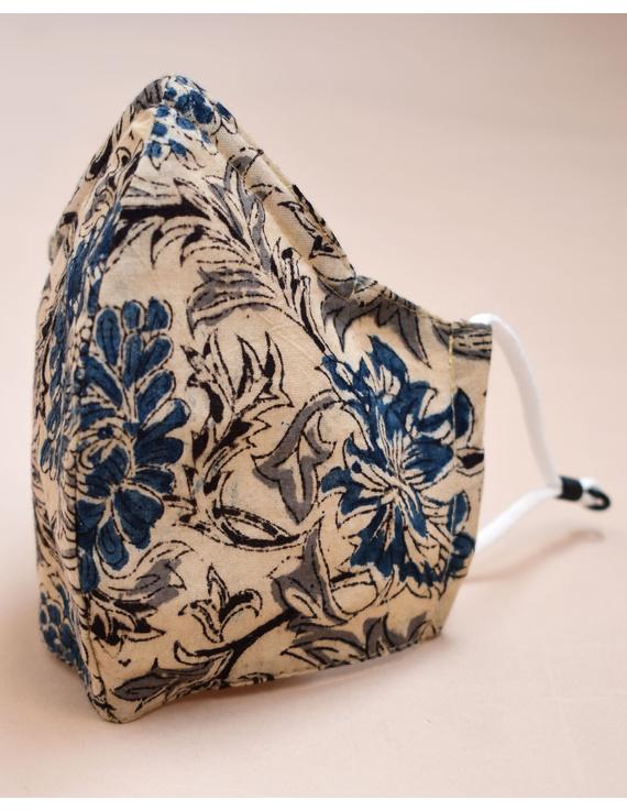 """""""Kritisafe"""" kalamkari cotton mask with filter and noseclip: KFM01-Blue-3"""
