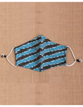 """""""Kritisafe"""" ikat cotton mask with filter and noseclip: KFM02-Blue-2-sm"""