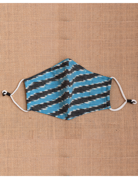 """""""Kritisafe"""" ikat cotton mask with filter and noseclip: KFM02-Blue-2"""