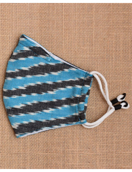 """""""Kritisafe"""" ikat cotton mask with filter and noseclip: KFM02-Blue-3-sm"""