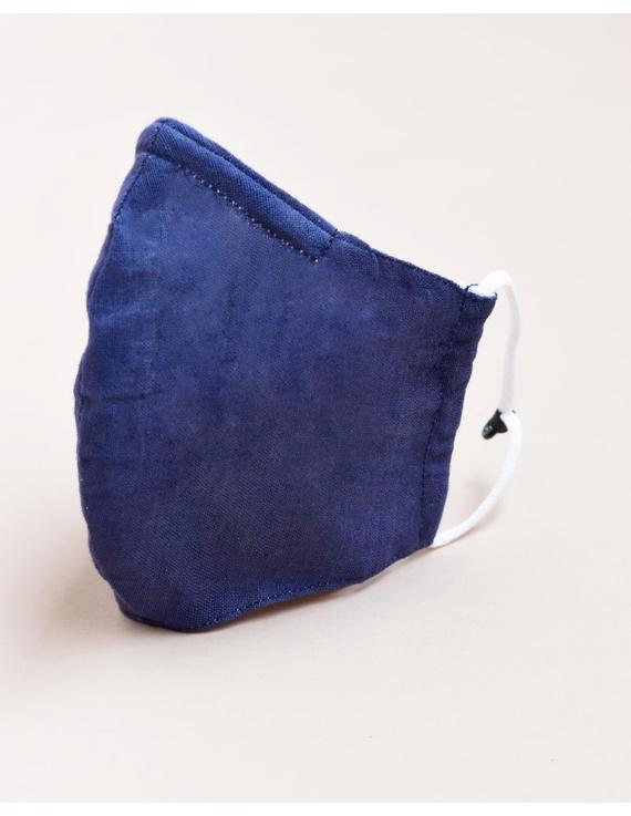 """Kritisafe"" handloom mask with filter and noseclip: KFM03-Indigo-3"