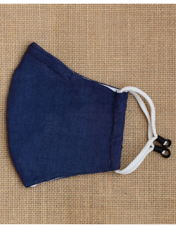 """Kritisafe"" handloom mask with filter and noseclip: KFM03-Indigo-1"