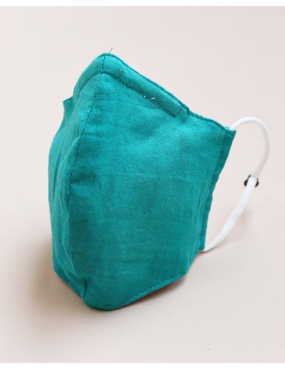 """""""Kritisafe"""" handloom mask with filter and noseclip: KFM03-Green-3"""