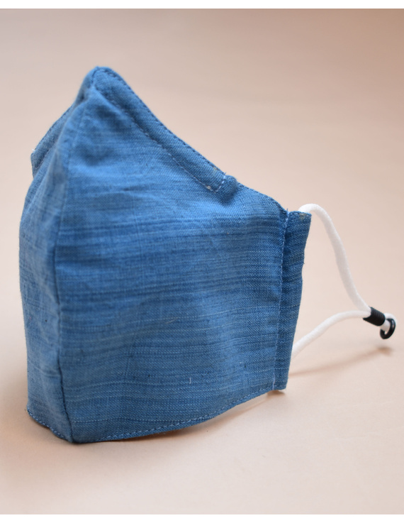 """Kritisafe"" handloom mask with filter and noseclip: KFM03-Blue-3"