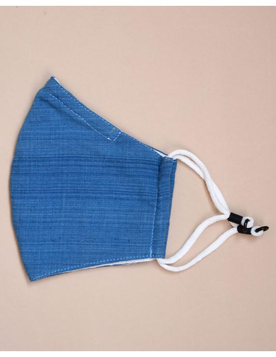 """Kritisafe"" handloom mask with filter and noseclip: KFM03-Blue-1"