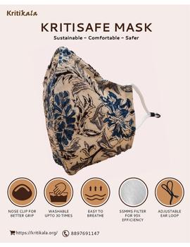 """""""Kritisafe"""" kalamkari cotton mask with filter and noseclip: KFM01-KFM01B-sm"""