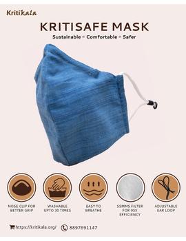 """""""Kritisafe"""" handloom mask with filter and noseclip: KFM03-KFM03C-sm"""