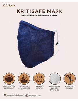 """Kritisafe"" handloom mask with filter and noseclip: KFM03-KFM03A-sm"