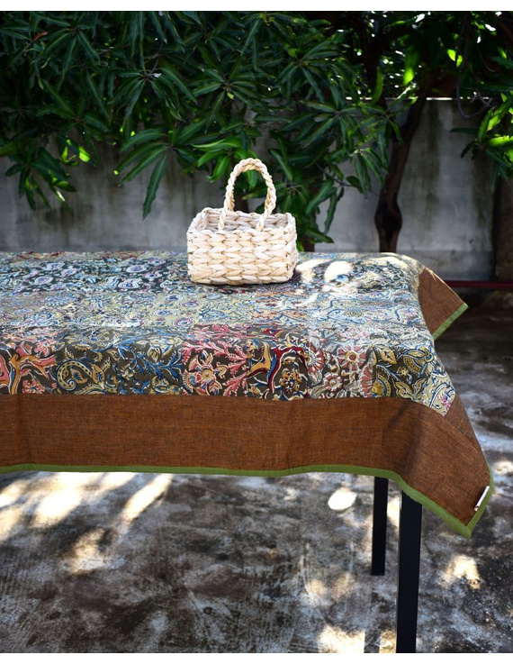 Six - eight seater patchwork table cloth with brown and green border: TBCR01B-TBCR01B