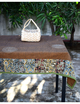 Six - eight seater patchwork table cloth with brown and green border: TBCR01B-1-sm