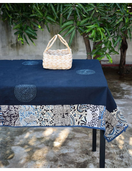 Six - eight seater patchwork table cloth with black and blue border: TBCR01C-4-sm