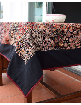 Six - eight seater patchwork table cloth with black and  red border: TBCR01D-2-sm