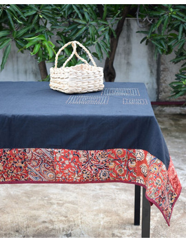 Six - eight seater patchwork table cloth with black and  red border: TBCR01D-4-sm