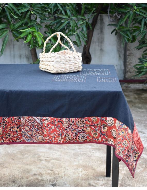 Six - eight seater patchwork table cloth with black and  red border: TBCR01D-4