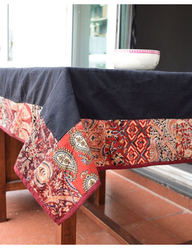 Six - eight seater patchwork table cloth with black and  red border: TBCR01D-5-sm